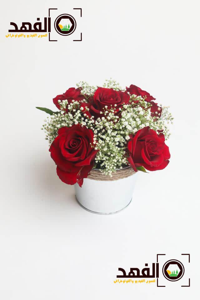 فازة زهور حمراء